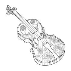 Colorear ilustración de vector de violín de adultos — Vector de stock