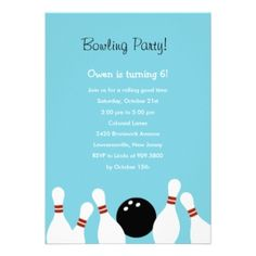 Shop Bowling Fun Party Invitation (Turquoise) created by paper_girl. Rocket Birthday Parties, Adult Birthday Party, Birthday Ideas, Pink Invitations, Custom Invitations, Invite, Bowling Birthday Invitations, Best Part Of Me, Turquoise