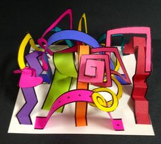 Hastings Elementary in Duncaville, TX Mrs. Marks Art Program: Line Sculpture-The students used construction paper, pencil, black Sharpie, rulers, 6x6 pieces of white posterboard, and examples of thick straight line, thin straight line, zig-zag line, curved line, and dotted line to create a 3D Line Sculpture.