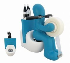 With the The Butt Station Desk Accessory Holder ($16.93) not only will the fun colors perk up your desk, butt this is one functional derrière. The Butt Station is a tape dispenser with cutter, pen and memo/card holder, and the magnetic rump holds paper clips!