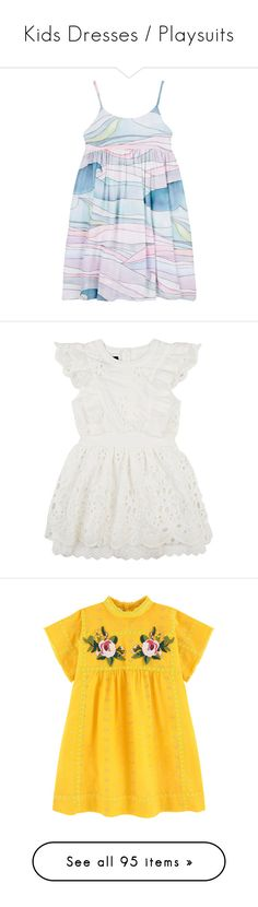 """""""Kids Dresses / Playsuits"""" by littlewhitedaisy ❤ liked on Polyvore featuring no color, cream, black pattern, kids apparel dresses, shorts, overalls shorts, ripped shorts, denim overalls shorts, bib shorts and distressed overall shorts"""