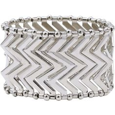 M&Co Aztec Stretch Bracelet ($5.20) ❤ liked on Polyvore featuring jewelry, bracelets, accessories, silver, aztec silver jewelry, beaded silver jewellery, bead jewellery, beaded bangles and silver bangles