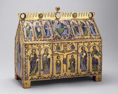 DECORATIVE ENAMEL WORK - Chasse with the Crucifixion and Christ in Majesty, ca. 1180–90 Made in Limoges, France Copper: engraved, chiseled, stippled, and gilt; champlevé enamel: dark, medium, and light blue; turquoise, dark and light