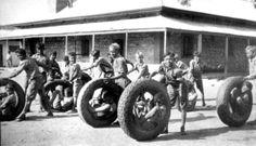 tyre race in Darwin 1945