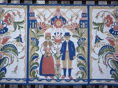 Swedish Kurbits Wall Hanging by Textile Designer Inger Åberg, Dalarna Folklore, Wedding Couple, Scandinavian Cotton Wallhanging, Sweden