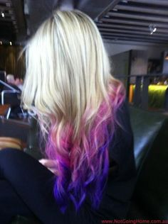 dip dye purple and pink hair, I would never do this to my hair but it looks cool!:)