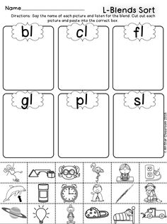 These no-prep picture sort  printables are a perfect practice or assessment opportunity for students to listen for l-blends in words. With these printables, students will state the picture name and sort the picture according to the blend. A full-color sort is included for teachers to model in a whole or small group setting. L-Blends included: bl, cl, fl, gl, pl, sl