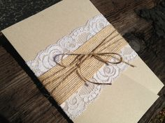 Lace and Burlap Pocket Invitation, Rustic Elegance and Country Chic, Country Wedding - Laced Pocket Wedding Invitation