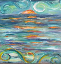 """""""Wavy World"""" is a 12 x 12. If you like it, you can reach me at Decorativeimpressions@yahoo.com:)"""