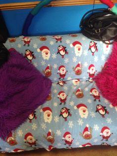 Christmas throw on work sofa!!