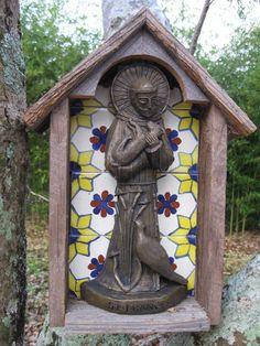 Handmade Cedar and Talavera Tile Niche with Statue of Saint Francis. InTheCompanyOfSaints via Etsy.
