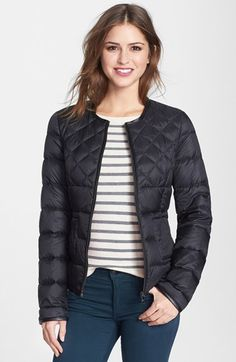 Steve Madden Collarless Packable Down Jacket available at #Nordstrom