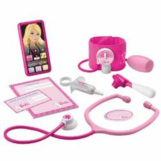 Barbie Doctor Kit, Keeping Healthy by KIDdesigns, Inc. $18.15. Accessories include syringe, stethoscope, blood pressure armband with working pump, thermometer, and name tag. Cell phone has many different apps and sound effects. Prescription pad and appointment cards included to follow up on your patient's healthcare. I can be a Doctor. Cell phone has speech from Barbie. From the Manufacturer                Pretend to be a real doctor with the Keeping Healthy Doctor Kit. This kit...