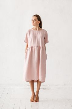 READY TO ship / size M L / Dusty pink color dress Linen