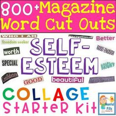 Magazine Word Cut Outs for Self-Esteem Collages: Starter Kit - Gesundheit Leben Self Esteem Worksheets, Self Esteem Activities, Youth Activities, Classroom Activities, Building Self Esteem, Social Skills, Coping Skills, Beautiful Collage, Budgeting Worksheets