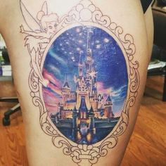 100 magical Disney tattoo ideas for every Disney fanatic. Tattoos last forever, but so does the love for Disney. Life Tattoos, Body Art Tattoos, New Tattoos, Sleeve Tattoos, Tatoos, Tattoo Sleeves, Manga Disney, Disney Castle Tattoo, Tattoo Disney