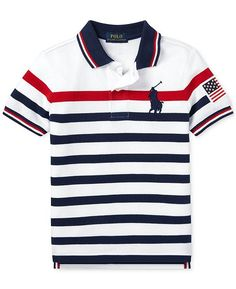 Polo Ralph Lauren Little Boys Striped Cotton Mesh Polo Shirt - White Multi Mens Polo T Shirts, Boys Shirts, Tee Shirts, Camisa Polo, Polos Lacoste, Le Polo, Ralph Lauren Kids, Polo Shirt White, Shirt Print Design