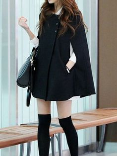 Super Cute! Looks I LOVE! Choies Black Bat Cape Coat #Black #Bat #Cape #Fall #Fashion #Street_Style #Trends