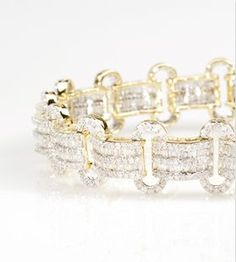 We're in awe of this stunning bracelet! Just give us a minute to pick our jaw up off the floor! | 6.75ctw Round And Baguette Diamond 10k Yellow Gold Bracelet [Promotional Pin]