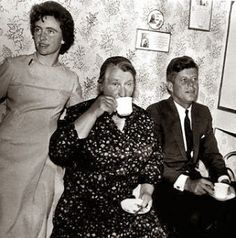 President John F Kennedy having tea with his relatives in Ireland