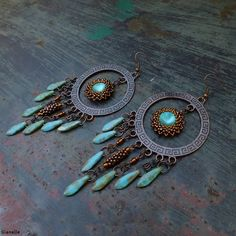 Matted rivoli + dagger beads + peyote tubes huge earrings