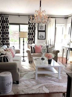 Home Decorating Style 2019 for Feminine Living Room Decor, you can see Feminine Living Room Decor and more pictures for Home Interior Designing 2019 at Best Home Living Room. My Living Room, Apartment Living, Home And Living, Living Room Decor, Living Spaces, Small Living, Dining Room, Modern Living, Blush Living Room