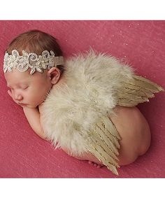 Look at this The Tiny Blessings Boutique Tan Headband & Feather Wings on #zulily today!