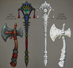 Weapons 01 by FirstKeeper on DeviantArt 3d Model Character, Character Concept, Character Design, Low Poly, Hand Painted Textures, Weapon Concept Art, Fantasy Weapons, Medieval Fantasy, Texture Painting