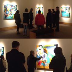 Visiting Artist Kim Krause talking with Professor Chris Kahler's Advanced Painting class.