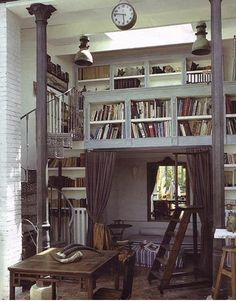 Yes, yes, yes, yes, yes! I love everything here; from the spiral staircase to the columns to the under-book bed nook