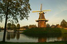 Stadswal Dokkum met molen Zeldenrust in avondlicht