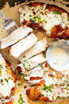 Deliciously tender pork chops cooked in the Instant Pot and smothered with a creamy ranch sauce. They are the perfect one pot meal for busy weeknights!  #porkchoprecipes #instantpotrecipes #porkchops #lowcarb #ketorecipes via @diethood Easy Pork Chop Recipes, Pork Recipes, Chicken Recipes, Cooking Recipes, Healthy Recipes, Keto Recipes, Healthy Meals, Keto Chicken, Sausage Recipes