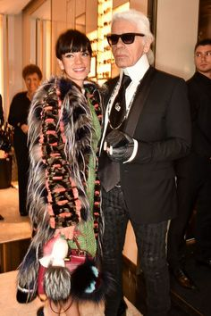Fendi Store Launch Party - Lily Allen and Karl Lagerfeld