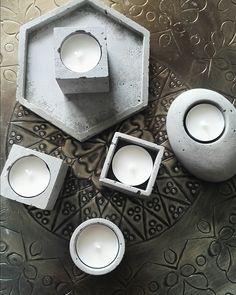 Concrete candles for a modern home. Handmade in Porvoo. www.instagram.com/solbackadesign Handmade Soaps, Tea Lights, Concrete, Candles, Modern, Instagram, Design, Trendy Tree, Tea Light Candles