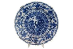 "18th-C. Delft Chinoiserie Platter | Large deep Dutch Delft platter in a chinoiserie pattern with crane. Some restoration commensurate with age. No maker's mark | 14""dia x 2.75""h 