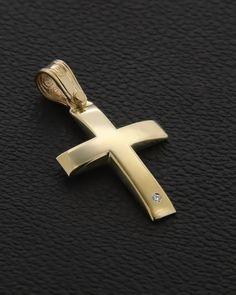 Σταυρός Βαπτιστικός Χρυσός Κ14 με Ζιργκόν Gold Pendant, Cross Pendant, Gold Cross, Crosses, Baby Love, Christening, Jewelery, Pendants, Christian