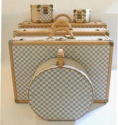 Louis Vuitton Custom Order Damier Azur Alzer Luggage Trunk Set Trendy Handbags, Luxury Handbags, Fashion Handbags, Purses And Handbags, Louis Vuitton Luggage, Louis Vuitton Handbags, Designer Luggage, Louis Vuitton Collection, Suitcase Set