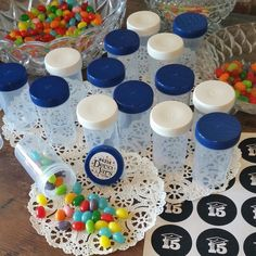 80 Pill Bottle Jars Containers Blue White Grad Party 2oz  4314 DecoJars USA #Decojars #Party