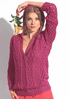 Розовый пуловер спицами с капюшоном - Портал рукоделия и моды