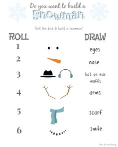 Build a Snowman Game - fun for Kiddos and Grandparents