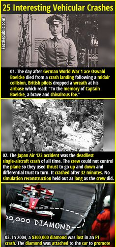 "1. The day after German World War 1 ace Oswald Boelcke died from a crash landing following a midair collision, British pilots dropped a wreath at his airbase which read: ""To the memory of Captain Boelcke, a brave and chivalrous foe."" #crash #accident #ace #ww1 #plane #disaster #diamond #f1car #factrepublic #unfortunate #wtffact #knowledge #funfact Wtf Fun Facts, Crazy Facts, Random Facts, Funny Facts, Interesting Reads, Interesting Facts, Did You Know Facts, Winning The Lottery, Unusual Things"