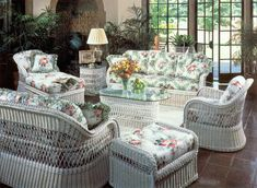nice white wicker couch
