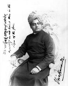 Chicago, September, 1893  Photograph taken by Thomas Harrison. Inscription in Swami Vivekananda's hand (English), 'equality in all beings this is the sign of the free'