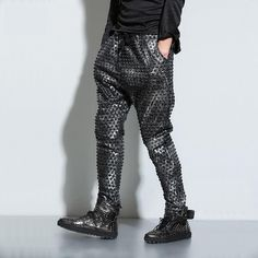 Black Studded Hip Hop Harem Pants These unique hip hop pants are harem style sweatpants joggers and made intentionally for dancing full out! Made from a polyester cotton blend the hip hop dance pants
