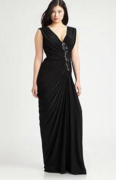 Tadashi Plus Size Long Black Dress