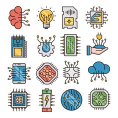Electronics filled outline icons vector image on VectorStock Logo Desing, Computer Chip, Chip Art, Kids Cards, Cards Diy, Poster Design Inspiration, Iphone Background Wallpaper, Icon Design, App Covers