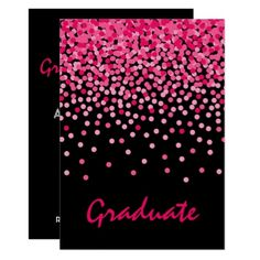 Graduation Party pink confetti invitation - invitations custom unique diy personalize occasions