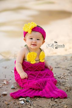 crochet Baby Mermaid Tail shell top and by ThatsSimplyAdorable, $55.00