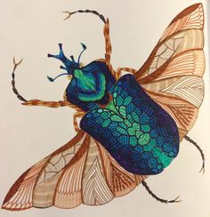 Coloured By Georgina Black‎. First one from 'Wild Savannah', a scarab beetle done with Kuretake Zig Writer pens..