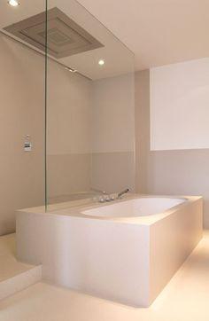 :: BATHROOMS :: Adore the work of Belgium based firm Ensemble et  Associes. Lovely Shower & Bath detail. #bathrooms